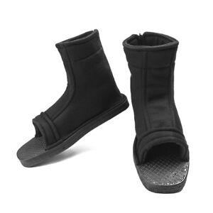 Unisex Black Cosplay Shoes Top Naruto Konoha Ninja Village Sandals Boots Costume