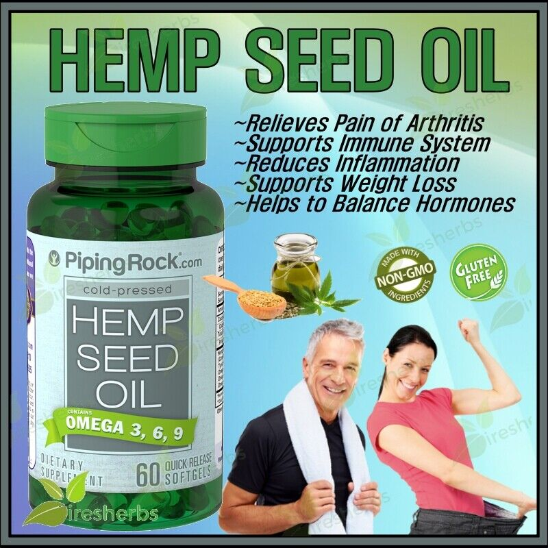 HEMP SEED OIL OMEGA 3-6-9 1000mg Heart Stress Joint Pain Relief Supplement 60 ct