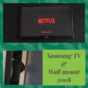 """TV 37"""" Samsung - wall mount inc. +Support tele mural"""