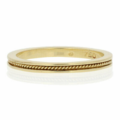 Hidalgo Signature Rope Ring - 18k Yellow Gold Stackable Wedding Band Size 6 3/4