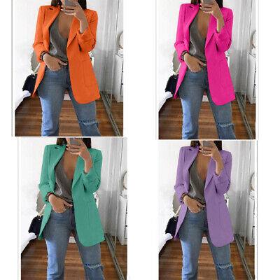 Jacket Women Coat Slim Casual Blazer Top Outwear Sleeve Career Formal Long Long