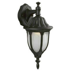 Classic Black Outdoor Wall Lantern with Clear Glass Side Light
