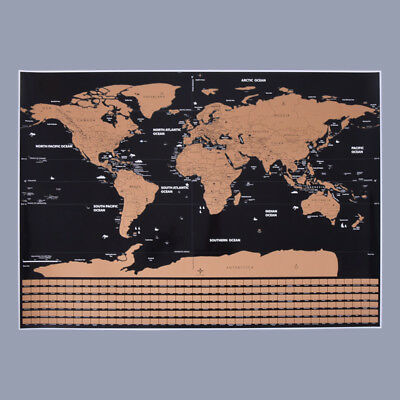 Scratch Off The World Map Home Wall Decoration Travel Poster Black Color