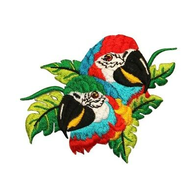 ID 0613Z Pair of Parrot Macaw Patch Jungle Bird Embroidered Iron On Applique