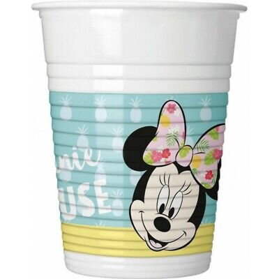 MINNIE MOUSE Tropical 7oz PLASTIC CUPS (8) ~ Birthday Party Supplies Drinking (Minnie Mouse Plastic Cups)