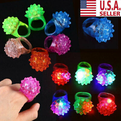 Light Up Ring (100pcs Light-Up Jelly Bumpy Rings Flashing LED Bubble Rave Party Color Xmas)