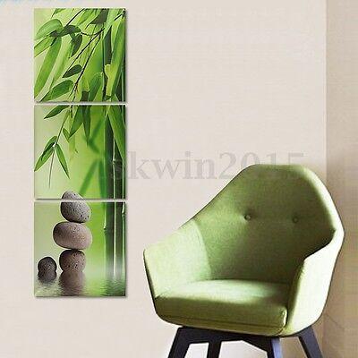 3Pcs Zen Bamboo Stone HD Picture Canvas Painting Modern Art Wall Decor Unframed