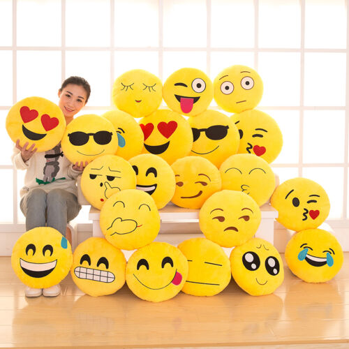 Emoji Smiley Pillow Emoticon Yellow Cushion Round Stuffed Plush Soft Toy Decor