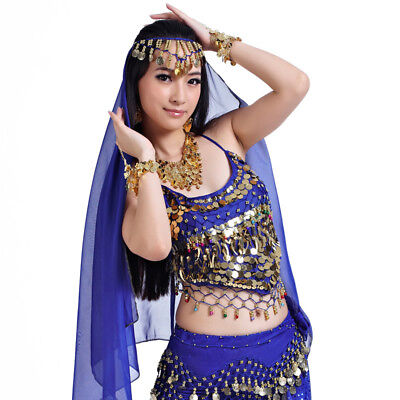 USA Belly Dance Chiffon Head Pieces Headdress Scarf Costume Head Shawl Veil