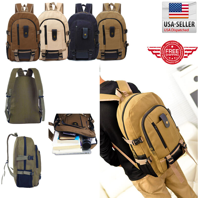 Bag - Men Retro Vintage Canvas Backpack Rucksack Travel Sports School 00012 Hiking Bag