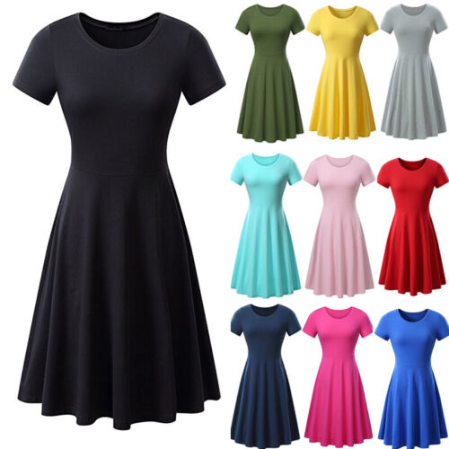 Summer Women Jersey Short Sleeve Dress High Waist Solid Skater Midi Tshirt Dress Clothing, Shoes & Accessories