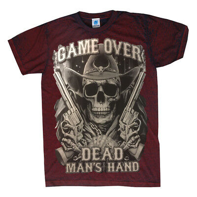 Game Over Dead Man's Hand T-Shirt SKULL,COWBOY,HUGH PRINT ACID WASH TOP QUALITY