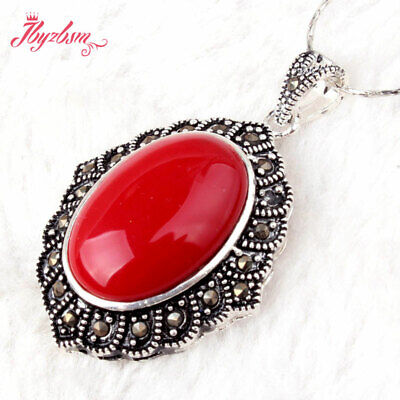 14x20mm Oval Stone Tibetan Silver Marcasite Classical Necklace Pendant -
