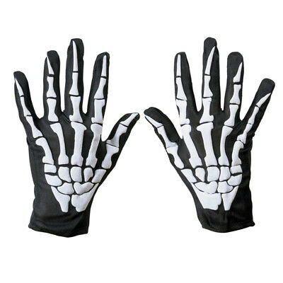 Biker Skeleton Bone Gloves Racing Cycling Motorcycle Halloween Goth Full - Biker Gloves Halloween