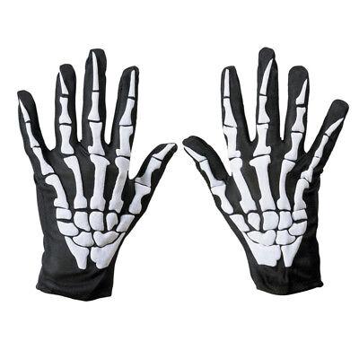 Biker Skeleton Bone Gloves Racing Cycling Motorcycle Halloween Goth Full Finger - Biker Gloves Halloween