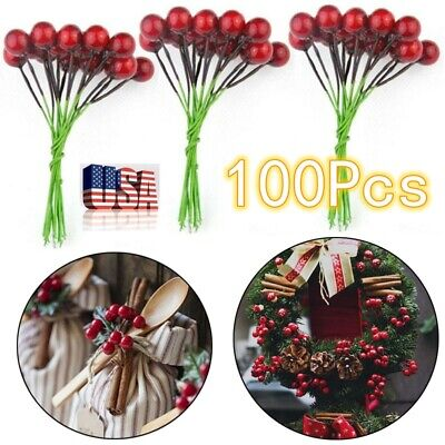 100Pcs Mini Red Berry Picks Christmas Tree Wreath Artificial Craft Home Decor US ()
