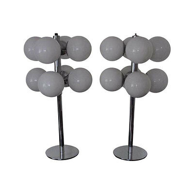 Pair of 20th Century Table Lamps, by Lightolier, Crystal Globes and Steel