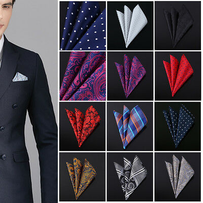 Set 10 PCS Handkerchiefs Men's Pocket Square Silk Hanky Mutio Colors Polka Dots