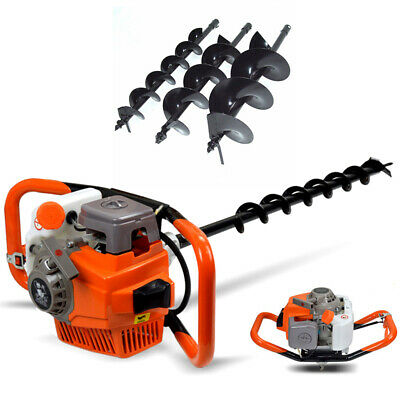71cc Post Hole Digger Gas Powered Earth Auger Borer Fence Ground Drill 3 Bits
