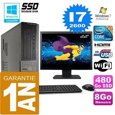 PC DELL 3010 DT Core I7-2600 Ram 8Go Disque 480 Go SSD Wifi W7 Ecran 22
