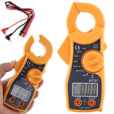 Mt87 Digital Lcd Clamp Meter Multimeter Handheld Ac Dc Voltmeter Mini Resistance
