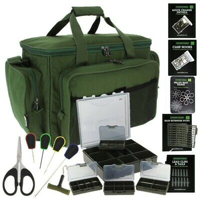 Carp Fishing Large Carryall Holdall Tackle Bag + Tackle Box & Termial Tackle Set