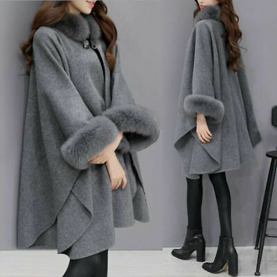 Cape Coat Poncho Fur Wool Collar Women's Sleeve Fashion Winter Faux Flare Ladies Collar Cotton Women Poncho