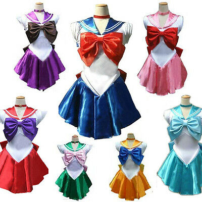 Adult Sailor Moon Mercury Venus Mars Jupiter Saturn Pink Chibi Costume Dress