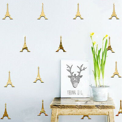 Us 12Lot Eiffel Tower Acrylic Wall Sticker Room Decor Removable Mirror Stickers