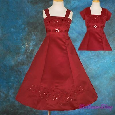 Embroidery Rhinestone Satin Dress Bolero Flower Girl Pageant Burgundy 2T-3T 018J Burgundy Flower Girl Pageant Dress
