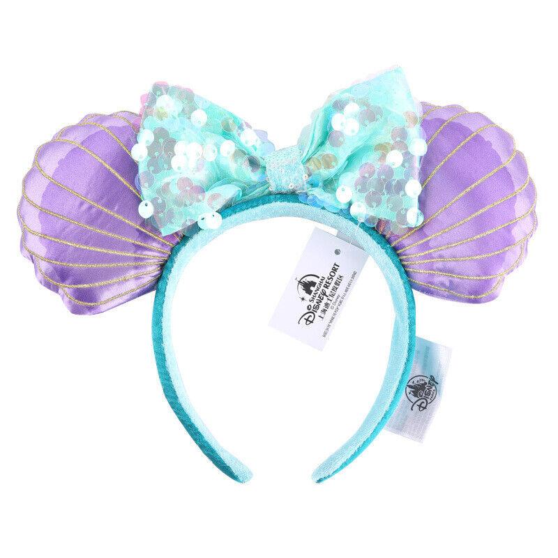 New Disney Parks Mermaid Ariel Purple Iridescent Disneyland Minnie Ears Headband
