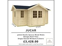 NEW! Garden Log Cabin 4.76m (w) x 2.97m (d) + 83cm