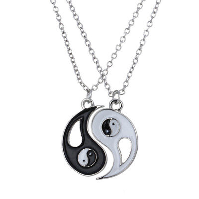 2 pcs Best Friends Yin and Yang Tai CHi Silver Plated Fashion Pendant Necklace