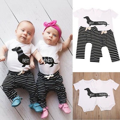 Matching Best Friends Newborn Baby Boy Girl Romper Tops+Pants Outfit Clothes