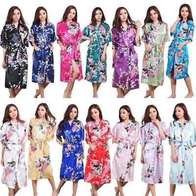 Women Lady High Quality Long /short Peacock Bride Kimono Robe satin Night (Night Long Short)