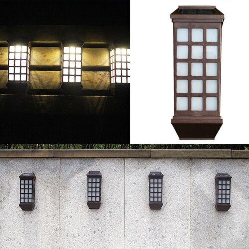 Modern Outdoor Solar Power LED Wall Fixtures Mount Garden Fence Lamp Lights 1pcs