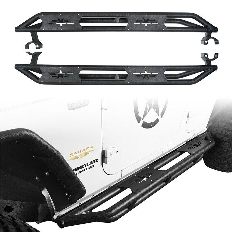 Full Set Tubular Side Step Nerf Bars W/ Star Sign For Jeep
