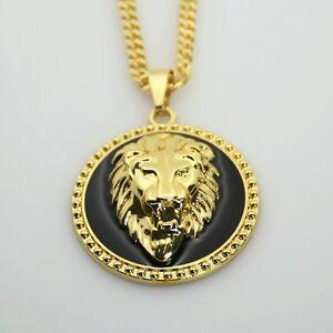 18k Gold Lion Head Iced Out Pendant Medallion Black 30
