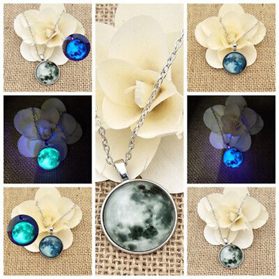 Pendant Glow in the Darkness Necklaces full moon blue luminous the dark women's