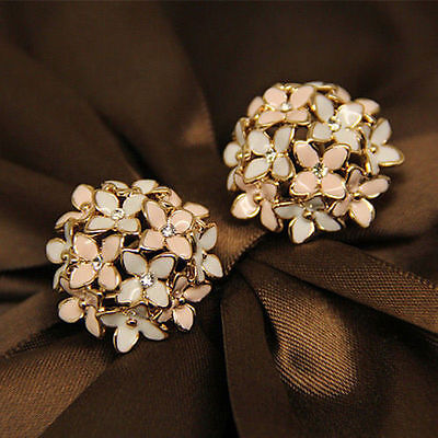 (Fashion 1 pair Women Lady Elegant Flower Pearl Rhinestone Ear Stud Earrings Hot)