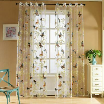 Window Voile Tulle Valance Scarf Floral Butterfly Sheer Curtains  Home Decor covid 19 (Scarf Valance Curtain coronavirus)