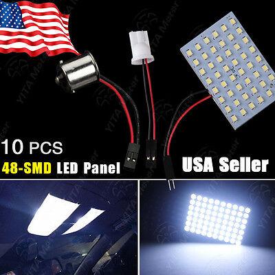 10X Cool White RV 1141/1156/BA15S & T10/921/194 48-SMD Panel Interior LED Lights](Cool Ba)