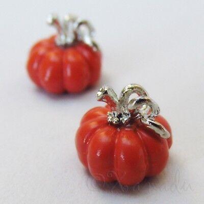 Pumpkin 11mm Wholesale Orange Enamel Silver Plated Charms C4297 - 2, 5 Or 10PCs