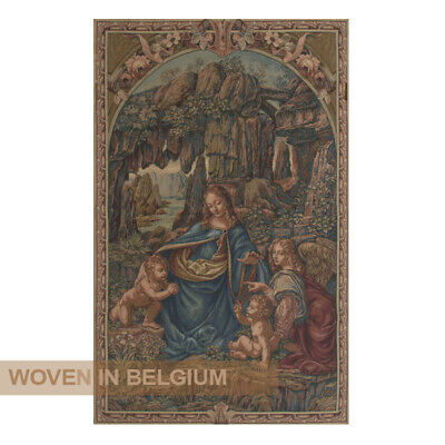 St Mother Mary Religious Tapestry Wall Hanging Woven Jacquard Art Belgian Small