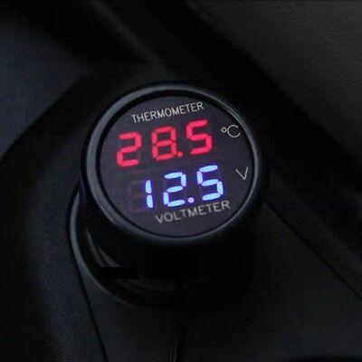5pcs 2 In 1 Digital Thermometer Voltmeter 12v 24v Dual Led Red Blue Car Volt