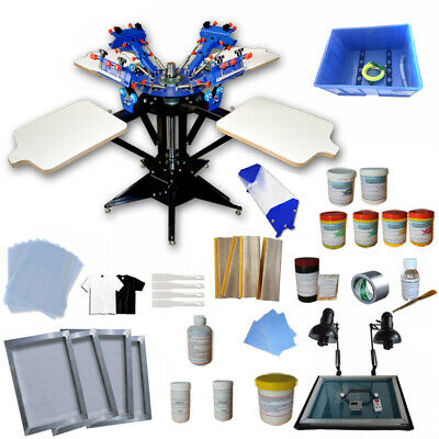 Intbuying 4 Color 4 Station Screen Printing Kit T-shirt Screen Printing Machine