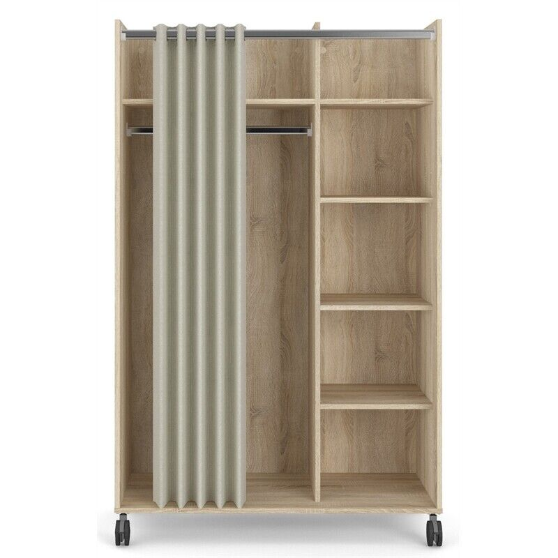 Tvilum Lola Mobile Wardrobe with Curtain in Oak Structure and Natural Fabric