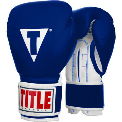 Title Boxing Classic Pro Style Hook and Loop Training Gloves - Blue/White