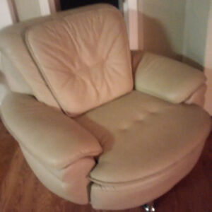 Tan Genuine Leather Loveseat and Chair