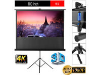 """Brand new,100"""" Tripod Floor Standing Pull-up Projector Screen 4:3 - Portable"""